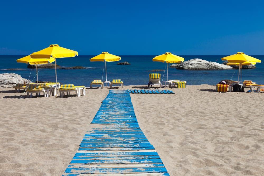 Stegna stranden på Rhodos i Grækenland
