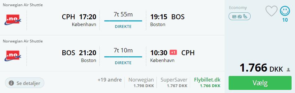 Flybilletter fra København til Boston i USA