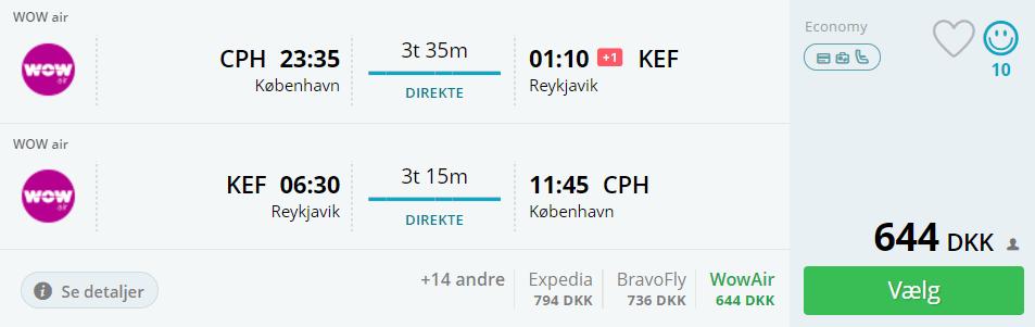 Flybilletter fra København til Reykjavik