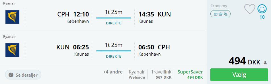 Flybilletter til Kaunus i Litauen