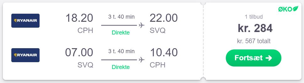 Fly fra København til Sevilla