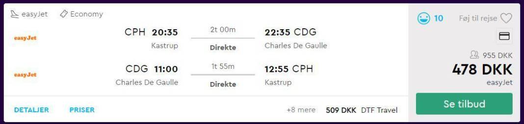Screenshot fra momondo af tilbud på flybilletter