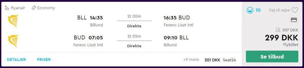 Flybilletter fra Billund til Budapest