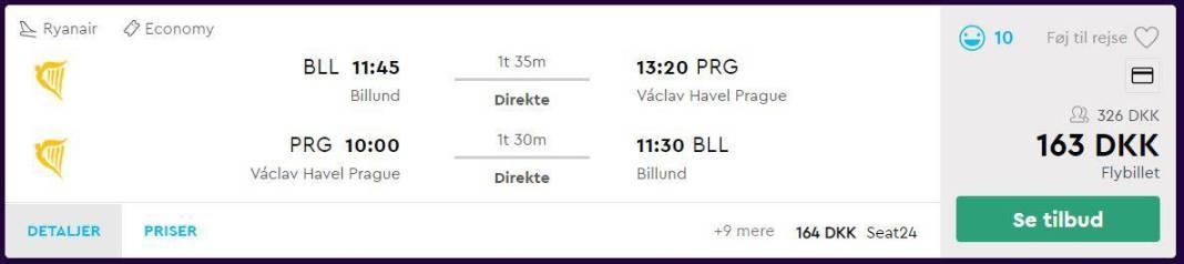 Flybilletter fra Billund til Prag