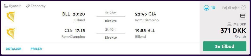 Flybilletter fra Billund til Rom