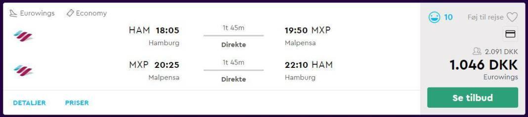 Flybilletter fra Hamborg til Milano