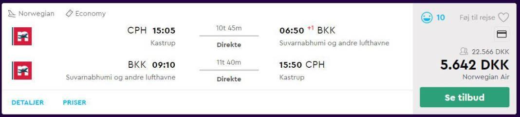 Flybilletter fra København til Bangkok - Thailand