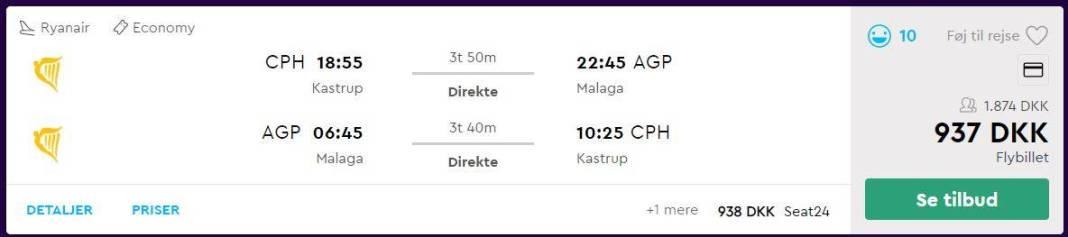 Flybilletter fra København til Malaga