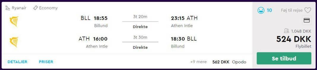 Flybilletter fra Billund til Athen