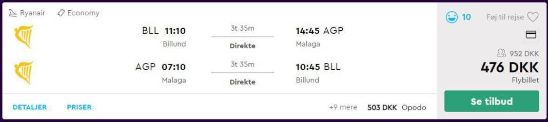 Flybilletter fra Billund til Malaga