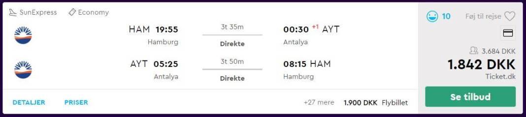 Flybilletter fra Hamborg til Alanya