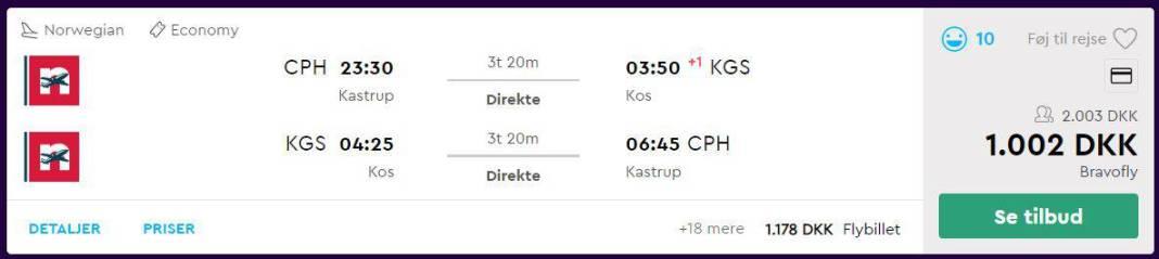 Flybilletter fra København til Kos - Grækenland