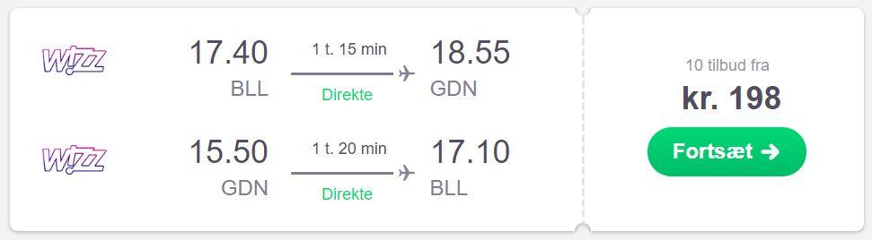 Flybilletter fra Billund til Gdansk