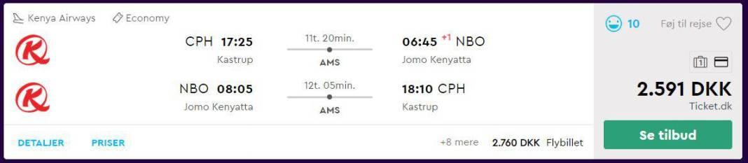 Flybilletter til Nairobi i Kenya