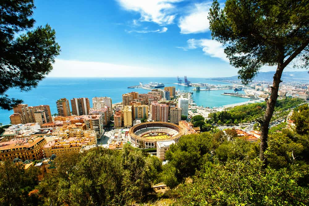 Panorama over Malaga i Spanien