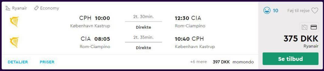Flybilletter fra København til Rom