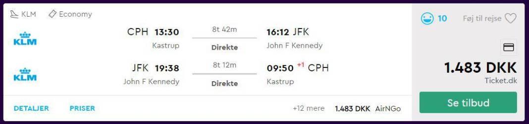 Billige flybilletter fra København til New York