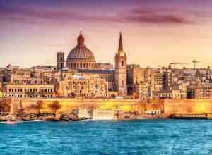 Billede fra indsejlingen til Valletta på Malta