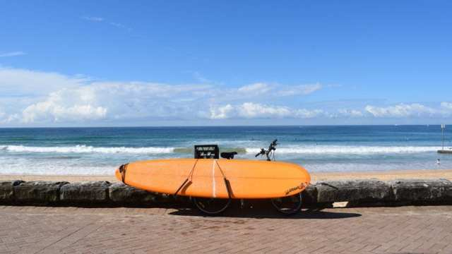 Surfboard by bike, Manly Beach, Sydney, Australia, travel