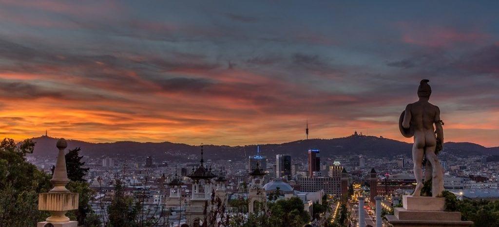 Spanien - Barcelona, Montjuïc, solnedgang - rejser