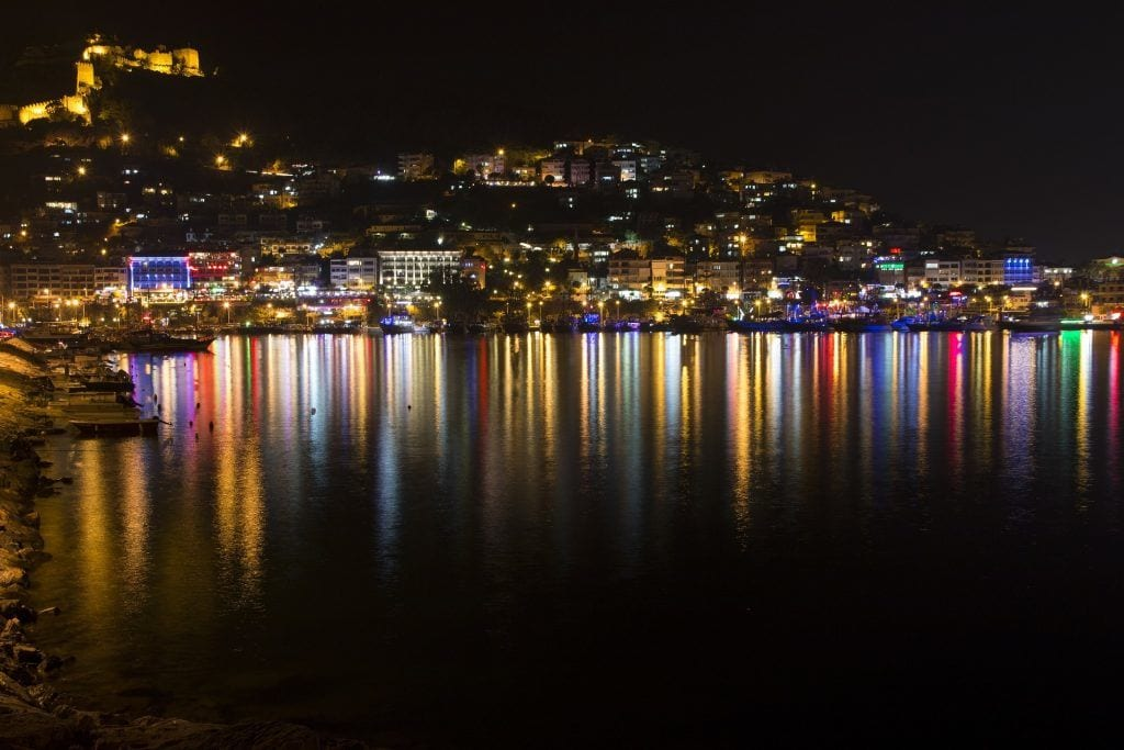 Tyrkiet - Alanya - borgen by night