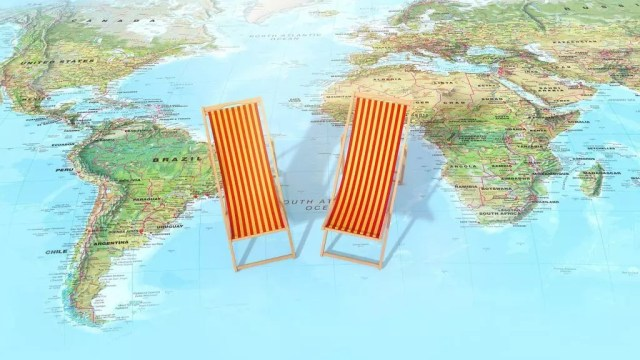 World map with chairs - travel