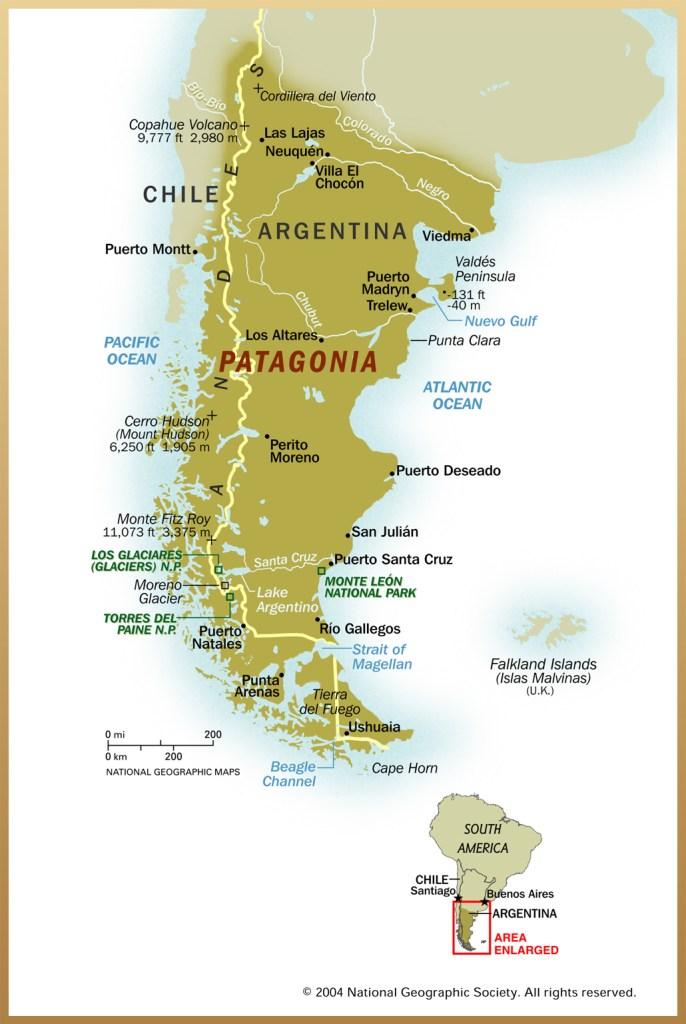 Argentina, Chile, kort, kort over patagonien - rejser - argentina kort, chile kort, argentina map, chile map, patagonia map