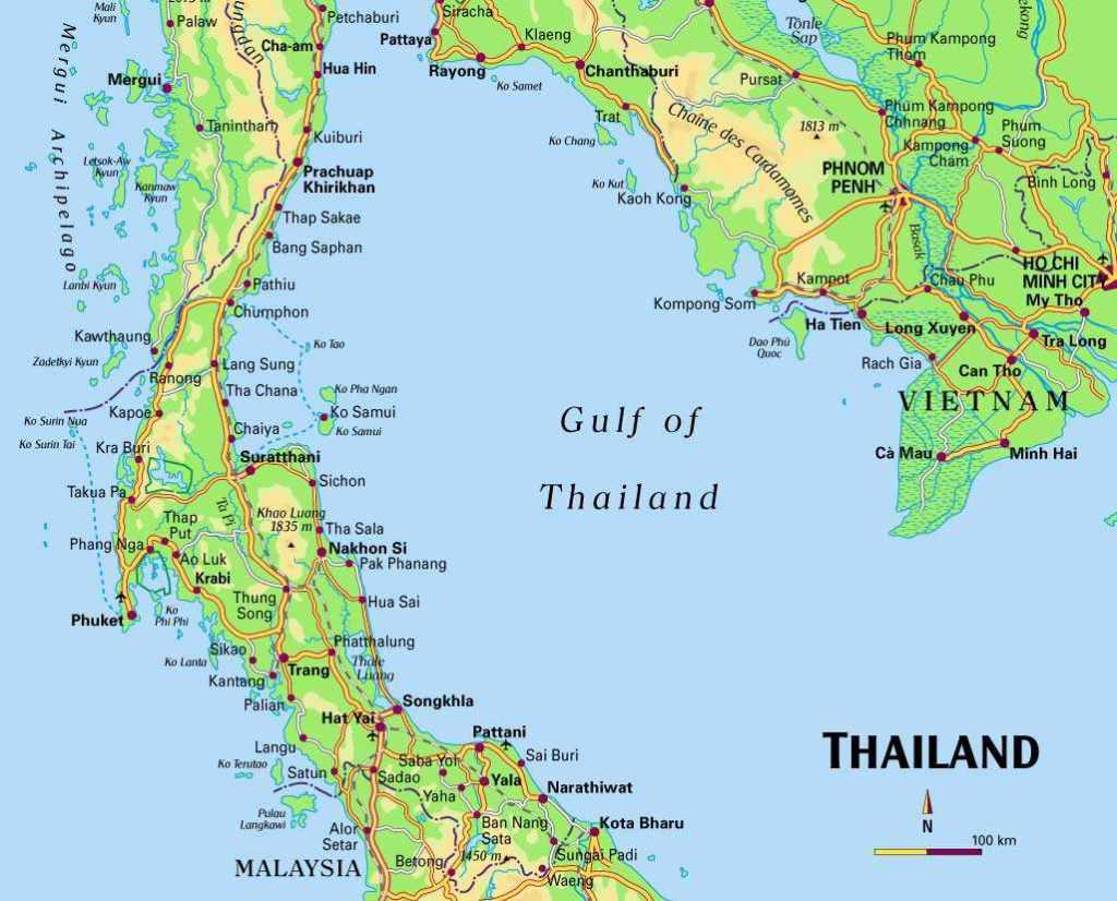 Thailand kort, bangkok kort, thailand map, den thailandske golf, kort over thailand, sydthailand kort, rejser