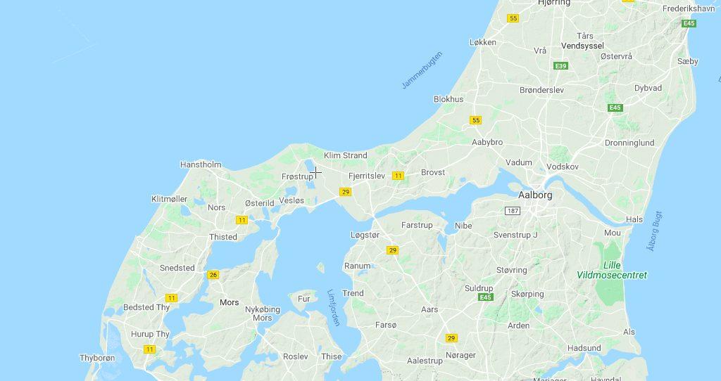 Danmark kort fur rejser