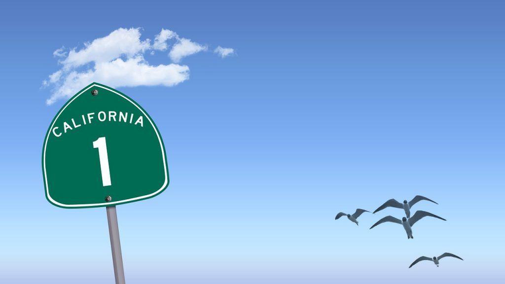 USA - Californien, Highway 1, skilt - rejser