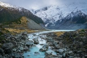 New Zealand - flod - bjerge