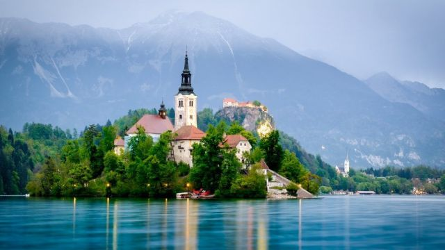 Bled lake - church - mountains - lake