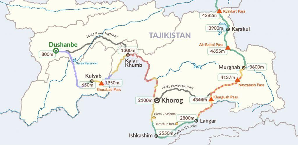 Tadsjikistan - Pamir Highway, kort - rejser - tajikistan