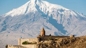 Ancient Armenian church Khor Virap with Ararat on the background