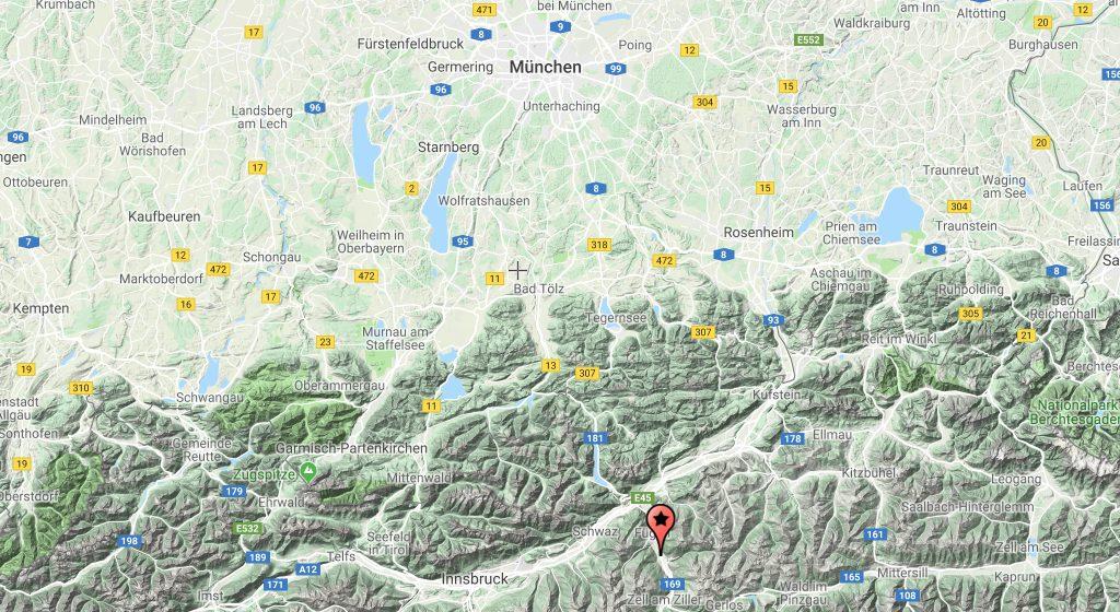 vježbe u Zillertalu, Austrija, Karta Austrije