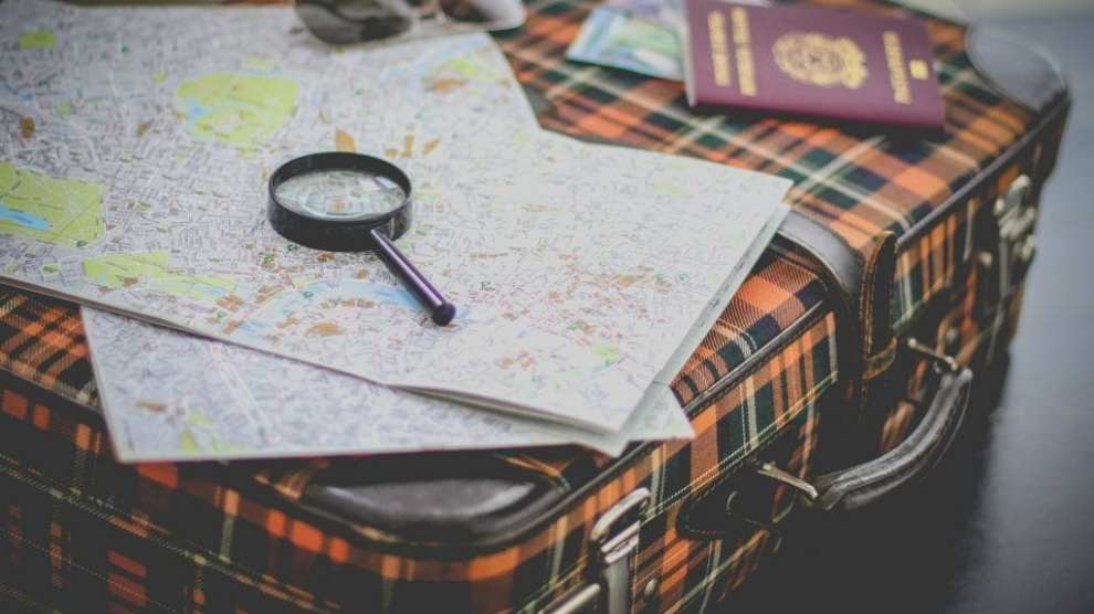 Travel, suitcase, map