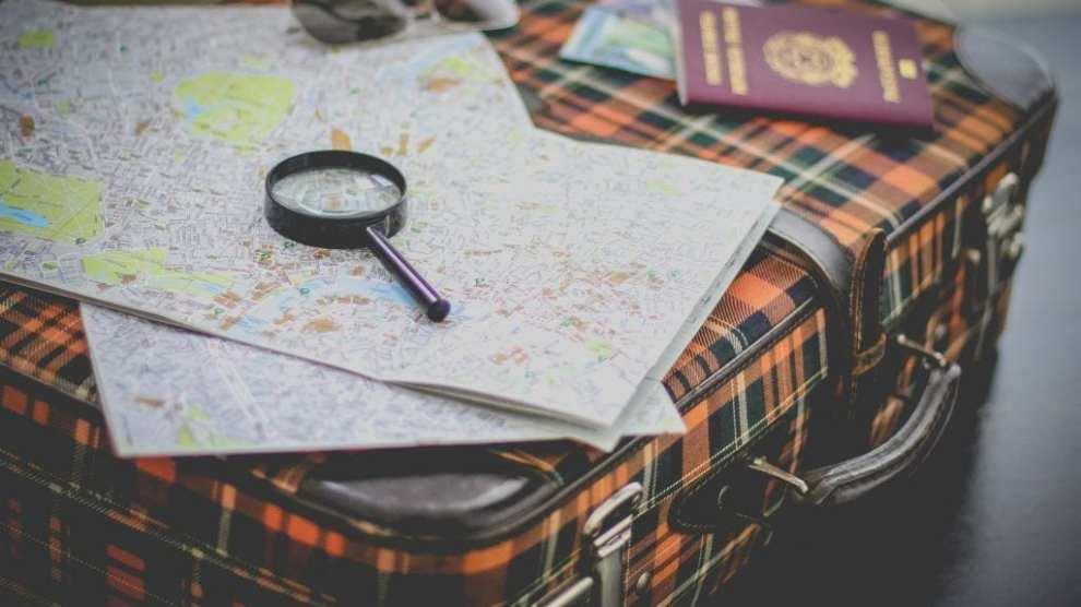 Reis, koffer, kaart