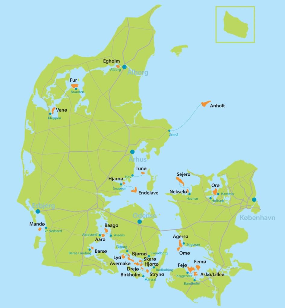 Kort over 27 danske øer, Kort over Danmark, danske øer, ø-pas