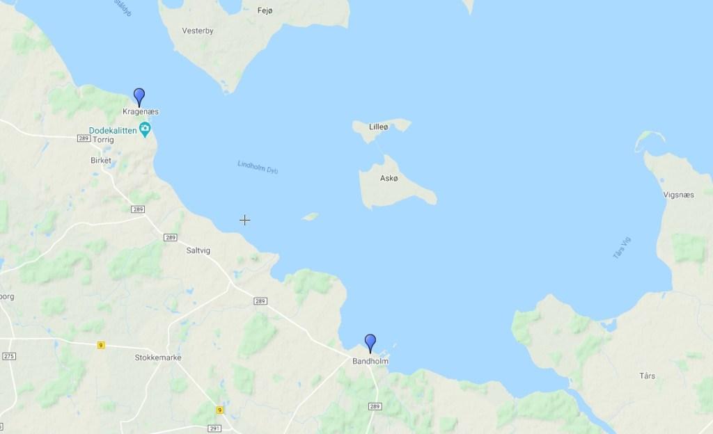 Danimarca - Kragenæs - Bandholm - Mappa - Viaggio