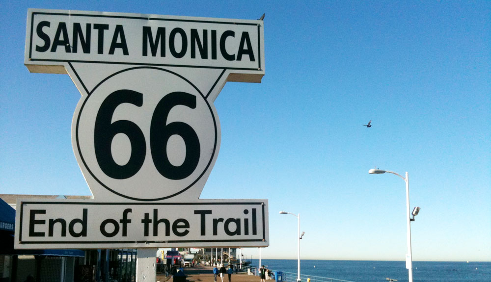 USA - Route 66, Santa Monica, sign, road trip on Route 66 - travel