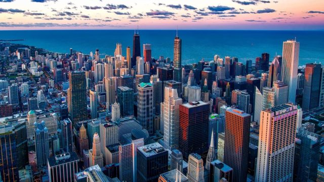 USA, chicago, skyline, high-rise buildings, water, big city, travel