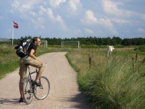 mand, cykel, eng, danmark, rejser, cykelrejse