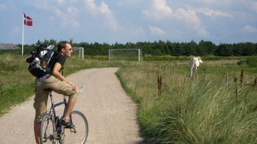 man, cykel, äng, danmark, resa, cykel resa
