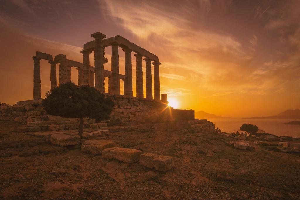 Grèce, Temple de Poséidon, Sounion, temple, mer, coucher de soleil, lever de soleil, ruine, voyage