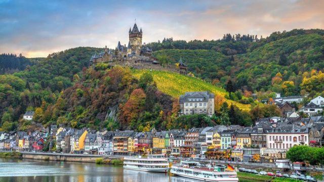 モーゼル、ライン、ドイツ、フランス、川、城、都市、旅行、リバークルーズ、