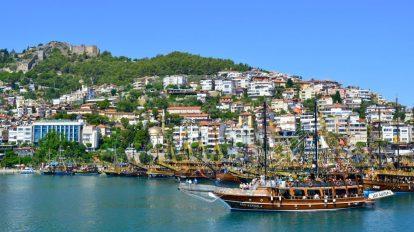 Turkey, Alanya, dagat, barko, kastilyo, paglalakbay