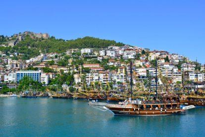 Tyrkiet, Alanya, hav, skib, borg, rejser