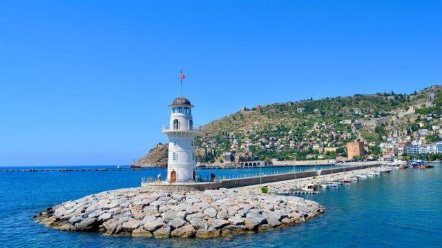 トルコ、アラニヤ、灯台、海、旅行