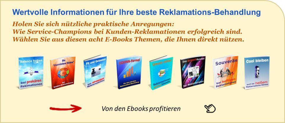 Der Hinweis Top-EBook-Bar für die beste Reklamations-Behandlung