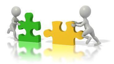 Puzzle zusammenarbeiten und gemeinsam Chancen nutzen